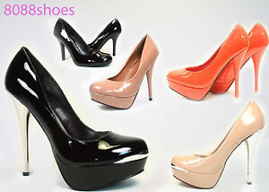 Womens-High-Heels-Dress-Bridal-Round-Toe-Patent-Platform-Stiletto-Pumps-Shoes