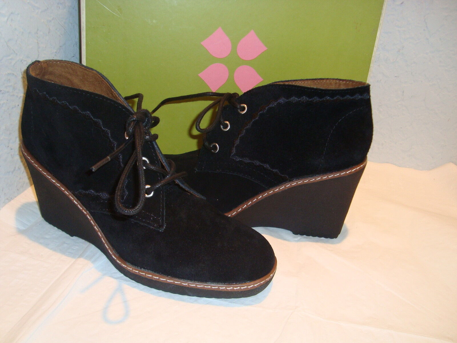 New Naturalizer Womens Kaitlyn Oxford Black Ankle Boots Shoes 5.5 Medium