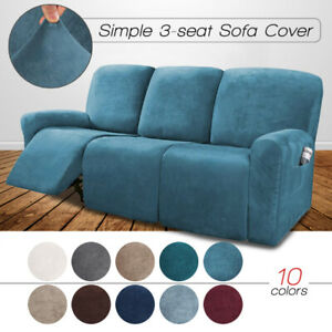 Velvet Stretch 3 Seater Recliner Couch, Chair Covers For Sofa Recliners