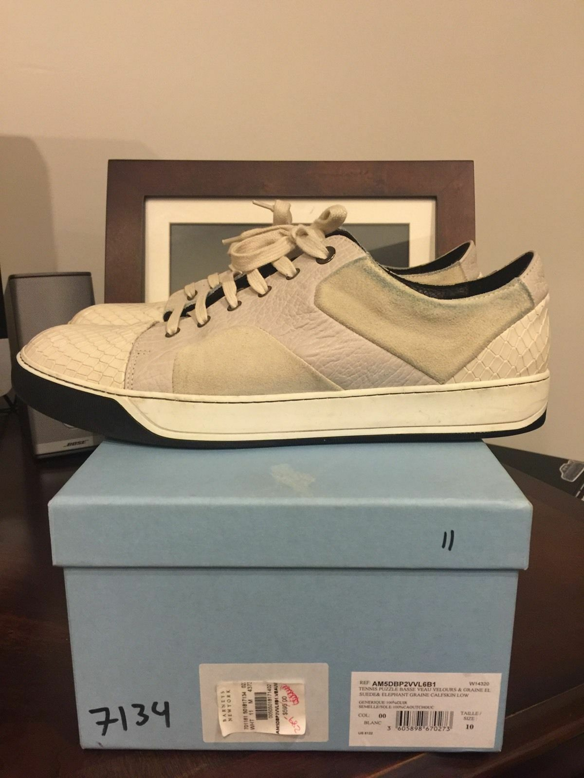 Lanvin Off White Suede Leather Snake Skin Patchwork Sneakers Low Top 11 44 595