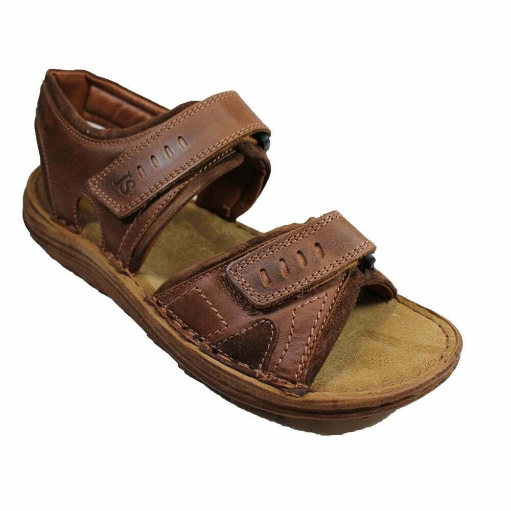 Josef Seibel Raul 19 Brown Leather Mens Rip Tape Adjustable Sandals