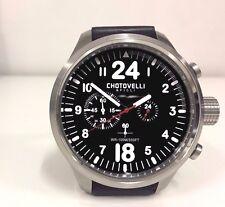 Chotovelli Italian Men Pilot Chronograph Wrist Watch Black leather Strap 39.11