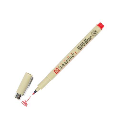 1.0mm Tip XSDK1-19 Sakura Pigma Graphic Marker Pen Red Pack of 1