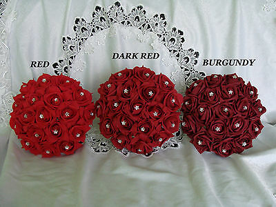 Red/Dark red/Burgundy Bride/Bridesmaid crystal bouquet Wedding flowers