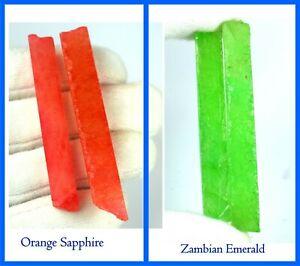Natural 240 Ct 4 Pcs Orange Sapphire & Zambian Emerald Gemstone Slice Rough Lot