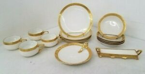RARE Rosenthal Donatello Partial Set w/ Cups and Bowls, Dessert Plates gold rim