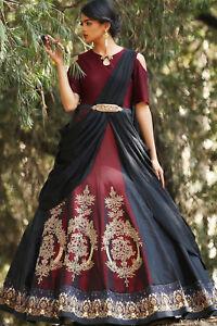 Details About Bollywood Indian Women Designer Maroon Suit Pakistani Lehenga Choli Wedding Gown