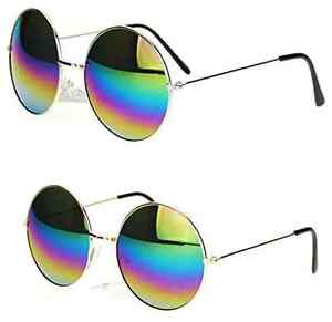 29a7bc5c9e Image is loading Rainbow-Mirror-Lens-Round-Circle-John-Lennon-Vintage-