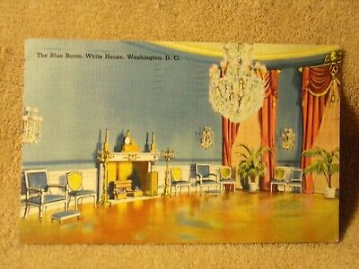 The Blue Room at the White House Vintage Washington DC Postcard Unused