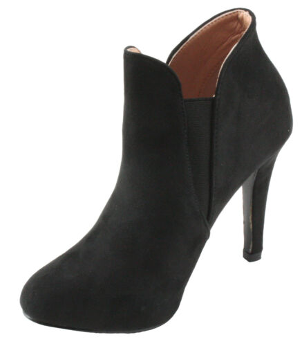 BellaMarie Kendall-10 Faux Suede Almond Toe Ankle High Heel Dress Booties