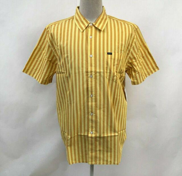 Obey Men's SS Woven Button Down Shirt Langston Yellow Size XL NWT Shepard Fairey