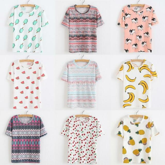 Fashion Women Summer Short Sleeve Tee Blouse Tops Cute Fruit Printed Loose Shirt