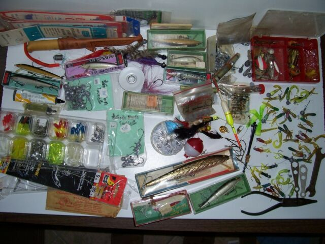 Antique Fishing Lure Lot Grandpa's Tackle Box Contents