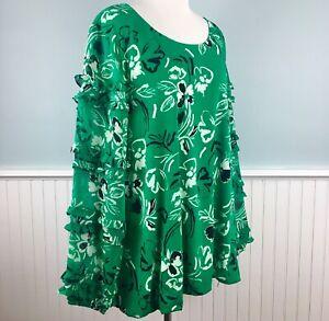 Size-1X-Alfani-Green-Floral-Sheer-Ruffle-Sleeve-Top-Blouse-Shirt-Womens-Plus-New