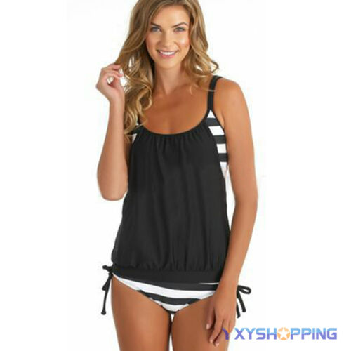 Damen Tankini Bikini Gepolstert Schwimmanzug Badeanzug Bademode Beachwear Strand
