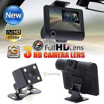 Dual Lens 4'' HD 1080P Car Dash Cam Rear Video Camera Recorder DVR Night Vision