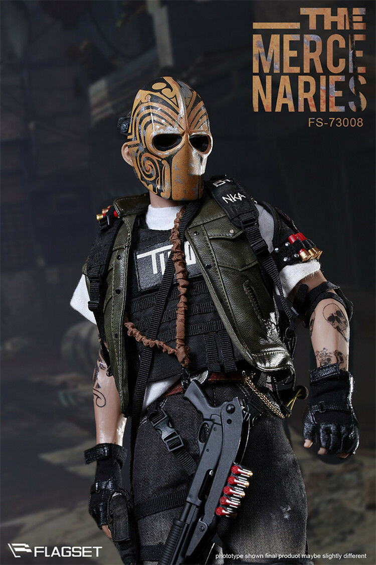 1 6 Flagset Fs-73008 Scale Male Masked Mercenaries 2.0 Action Figure Toy