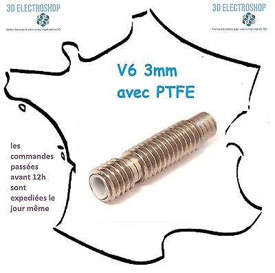 Tube M6x26 V6 avec tube PTFE pour filament 1.75mm heat break Nozzle Throat inox