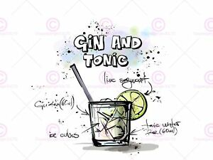 Painting-Illustration-Alcohol-Cocktail-Recipe-Gin-And-Tonic-Canvas-Art-Print