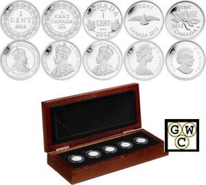 2012-Set-of-5-039-Silver-Penny-039-Coin-Set-9999-Fine-13066-OOAK
