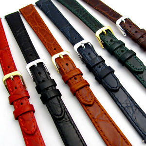 Ladies-Flat-Calf-Leather-Watch-Band-Strap-Crocodile-Croc-Grain-12mm-14mm-D007