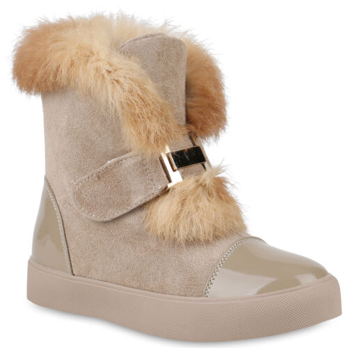 893311 Damen Stiefeletten Plateau Boots Warm Gefüttert Winter Schuhe New Look