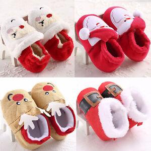 Navidad-Recien-nacidos-bebe-nino-nina-calidas-botas-de-nieve-Bautizo-precaminata-Cuna-Zapatos