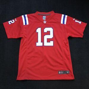 Nike On Field NFL RED Jersey New England Patriots #12 Tom Brady Kids XL