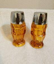 Vintage Amber Glass Salt & Pepper shakers