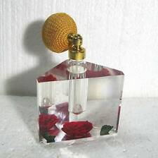 """Lucite w red roses perfume holder, refillable glass with atomizer 4"""" B12"""