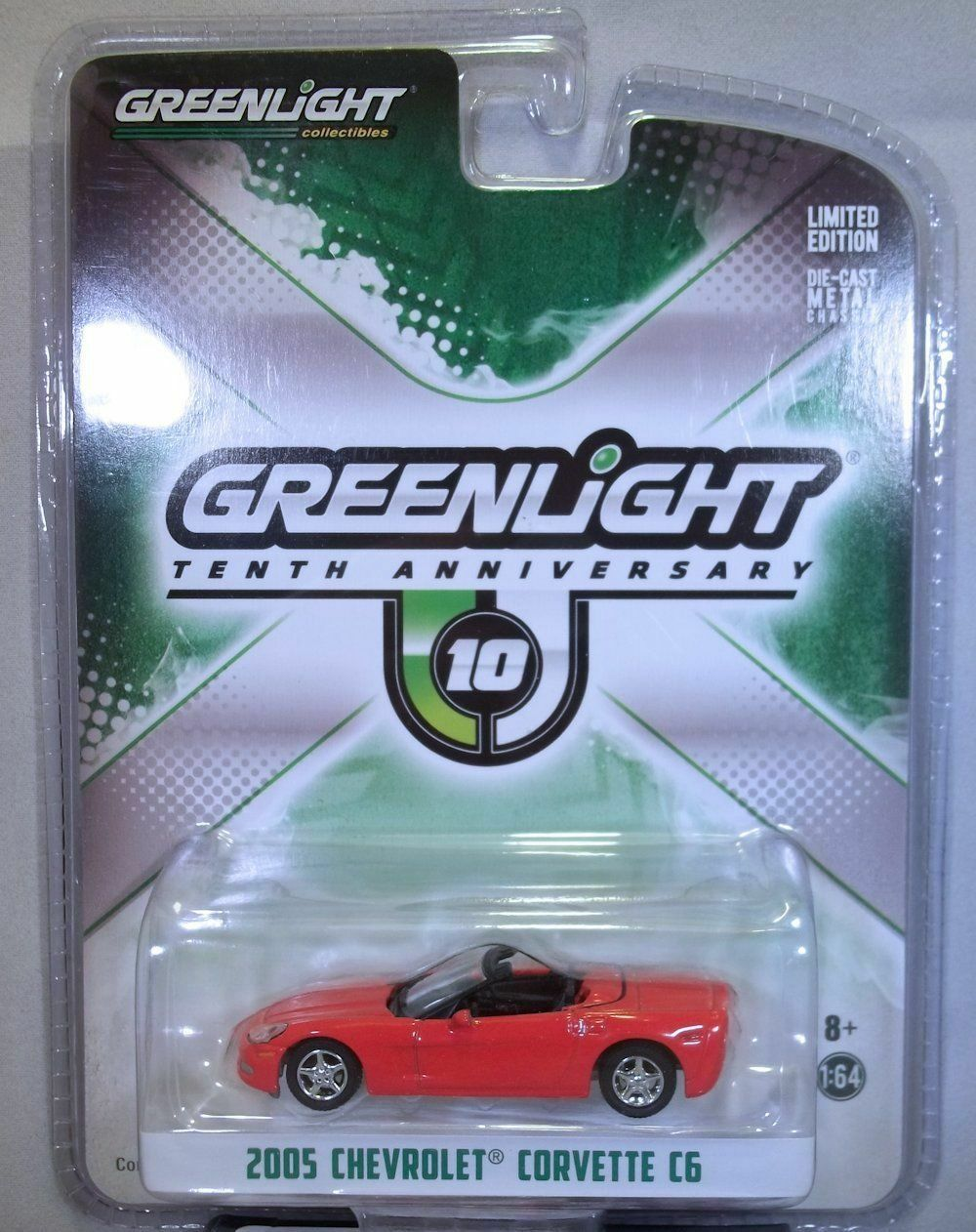Greenlight Collectibles Greenlight 10th Anniversary Edition 2005 Chevy Corvette C6 Convertible 1:64 Scale Red