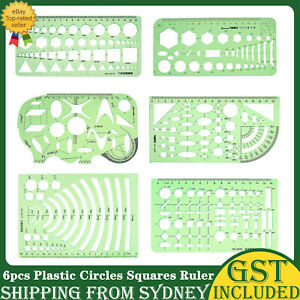 6Pcs Plastic Circles Squares Geometric Template Ruler Stencil Measuring Tool AU