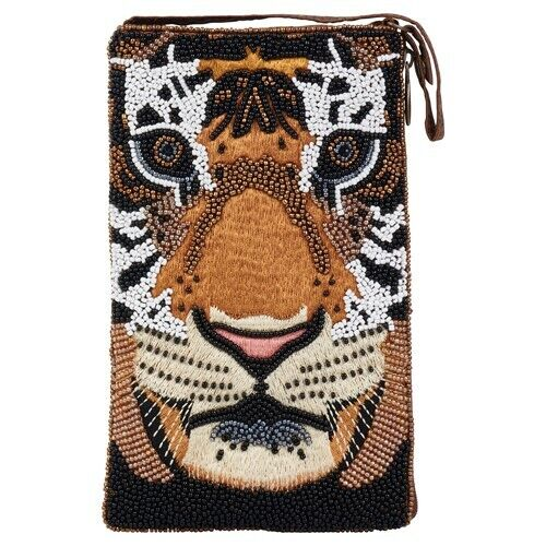 Tiger Club Bag Glass Beaded Bamboo Trading Company with Cross Body Strap