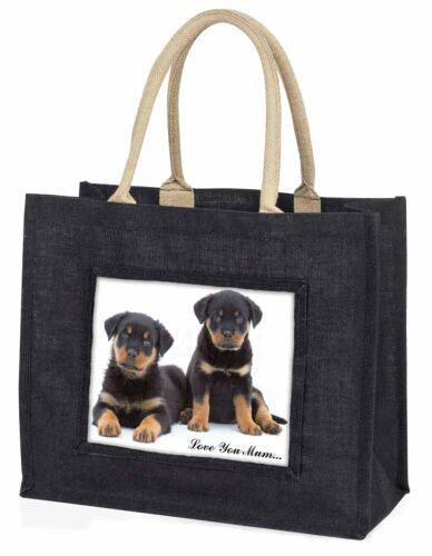 Rottweiler Puppies /'Love You Mum/' Large Black Shopping Bag Christm AD-RW2lymBLB