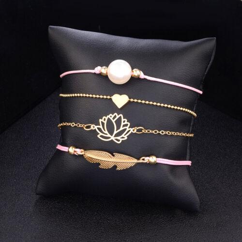 4pcs//set Women Leaf Knot Faux Pearl Heart Shaped Bracelet Chain Jewelry Gift CB