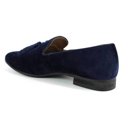 Blue Velvet Slip On Loafers Tassel Men/'s Dress Shoes Modern Formal  By AZAR MAN