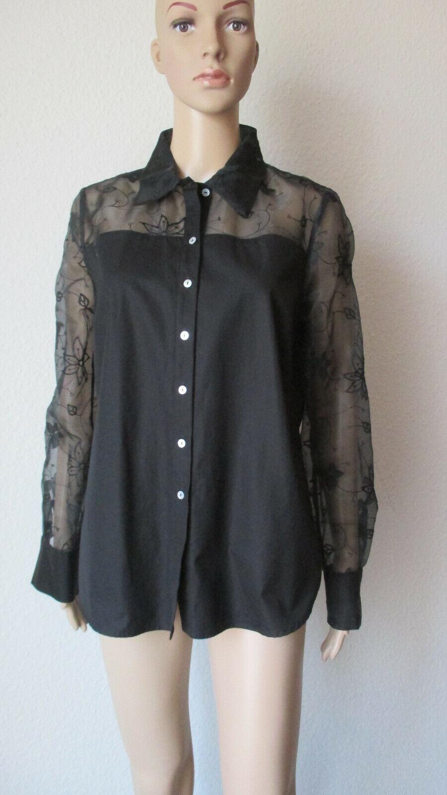 B. M. Company edle, schwarze Blause, Ärmel aus Organdi, Größe 40