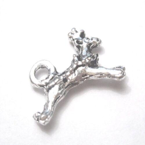 20 pc 11x6mm tibetan silver Noël cerfs Alliage charme Pendentifs-a2346-a