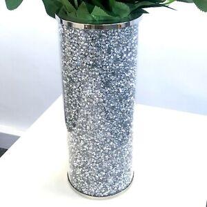 Beautiful Mosaic Vase Diamond Silver Crystal Decorative Mirror Flower Luxury