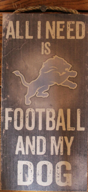 "Detroit Lions Distressed Dog Sign NFL Licensed Wood Team Fan Cave 6""x12"""