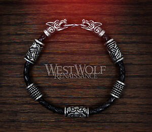 Viking Fenrir Wolf Bracelet With Beads Amp Braided Leather