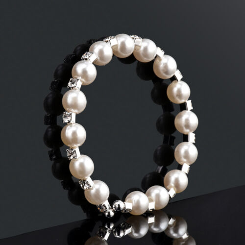Fashion Women Elegant 6 Layer Crystal Rhinestone Rose Flower Pearl Bracelet