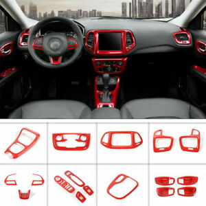17PCS Red ABS Car Interior Kit Cover Trim For Jeep Compass 2017-2021 Accessories