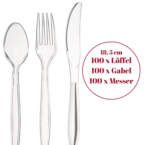 Clear Cutlery Transparent 300tlg.GLASKLARE Einweg-Besteck Gabel Messer Löffel