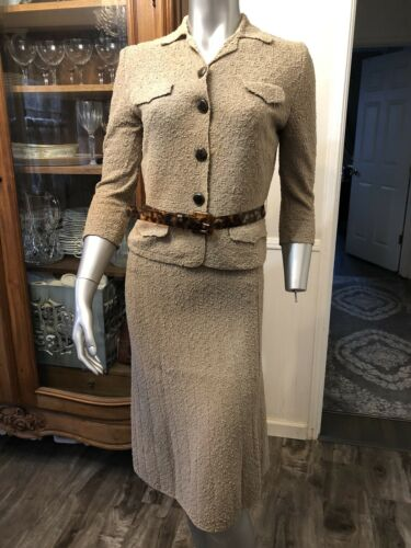 Italian wool boucle vintage taupe knit skirt suit