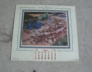 Vintage Murphy Co Salesman Sample 1959 Wall Calendar Litho Print Cows