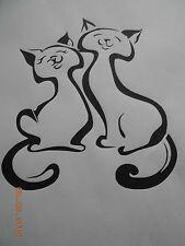 Schablone 2 Katzen 1 auf A4