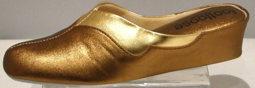 WEDGE LEATHER SPANISH SLIPPERS 2 TONE COPPER GOLD FOOTLOOSE BY RELAX COMFORT