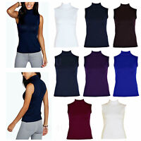 Ladies Plain Polo Neck Womens Sleeveless Stretch Turtle Jersey Basics Top 8-26
