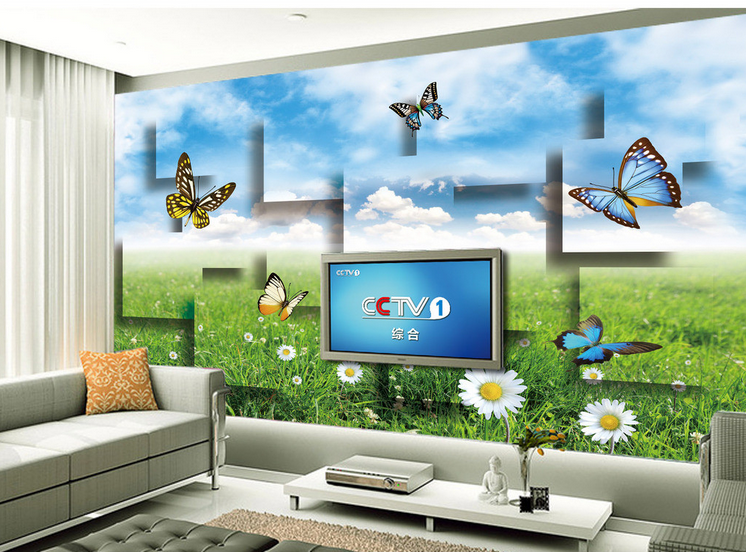 3D Flowers Grass Butterfly Paper Wall Print Wall Decal Wall Deco Indoor Murals